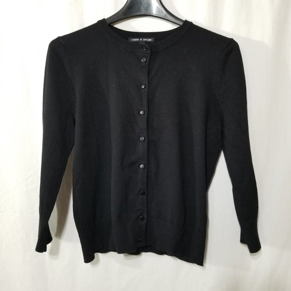 "Cable & Gauge black 3/4"" length sleeve cardigan"